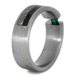 Gorgeous Dinosaurbone Emerald Wedding Band Or Mens Engagement Titanium Ring Meteorite Inlays Emerald Wedding Band Or Mens Engagement Titanium Ring With wedding rings Dinosaur Bone Ring