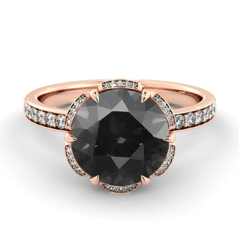black diamond engagement ring flower wedding rings black zoom