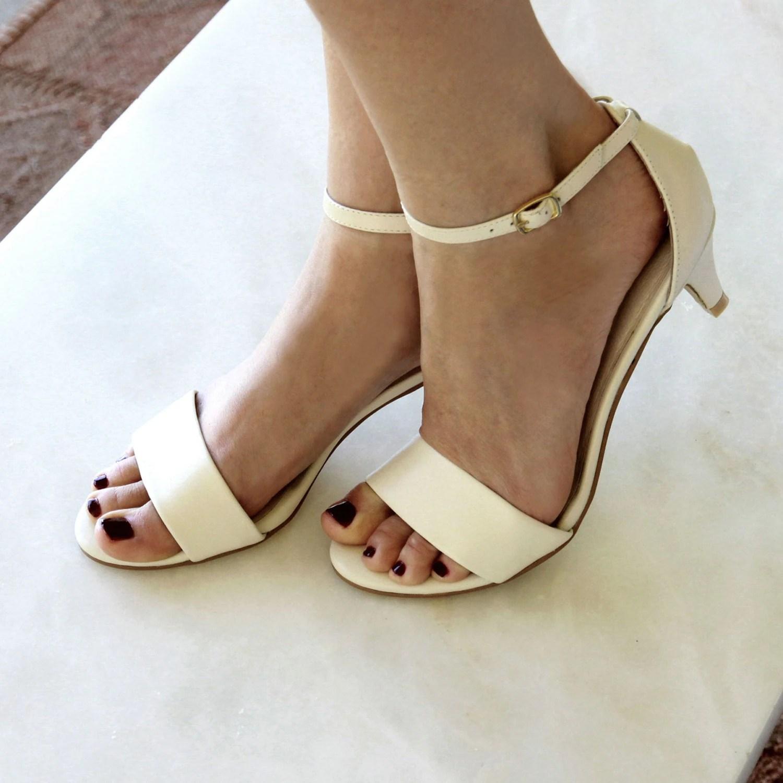 wedding wedges wedding wedge shoes Ladies Ivory low heel wedding shoes Low heel bridal shoes comfortable bridal shoes ivory kitten heels Style True Romance Ivory