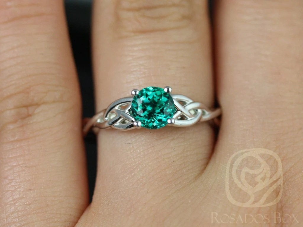 knot engagement ring emerald wedding rings Cassidy 6mm 14kt White Gold Round Emerald Celtic Knot Engagement Ring Other Metals and Stone Options Available