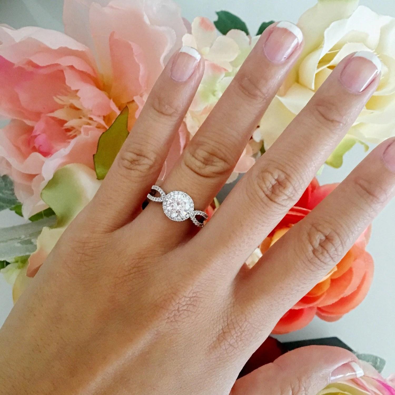 2 carat diamond ring round diamond wedding rings Round halo engagement ring round diamond ring wedding ring promise ring simulated diamond 2 carat center art deco vintage