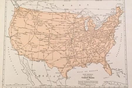 1937 railroad map of the united states original rand mcnally