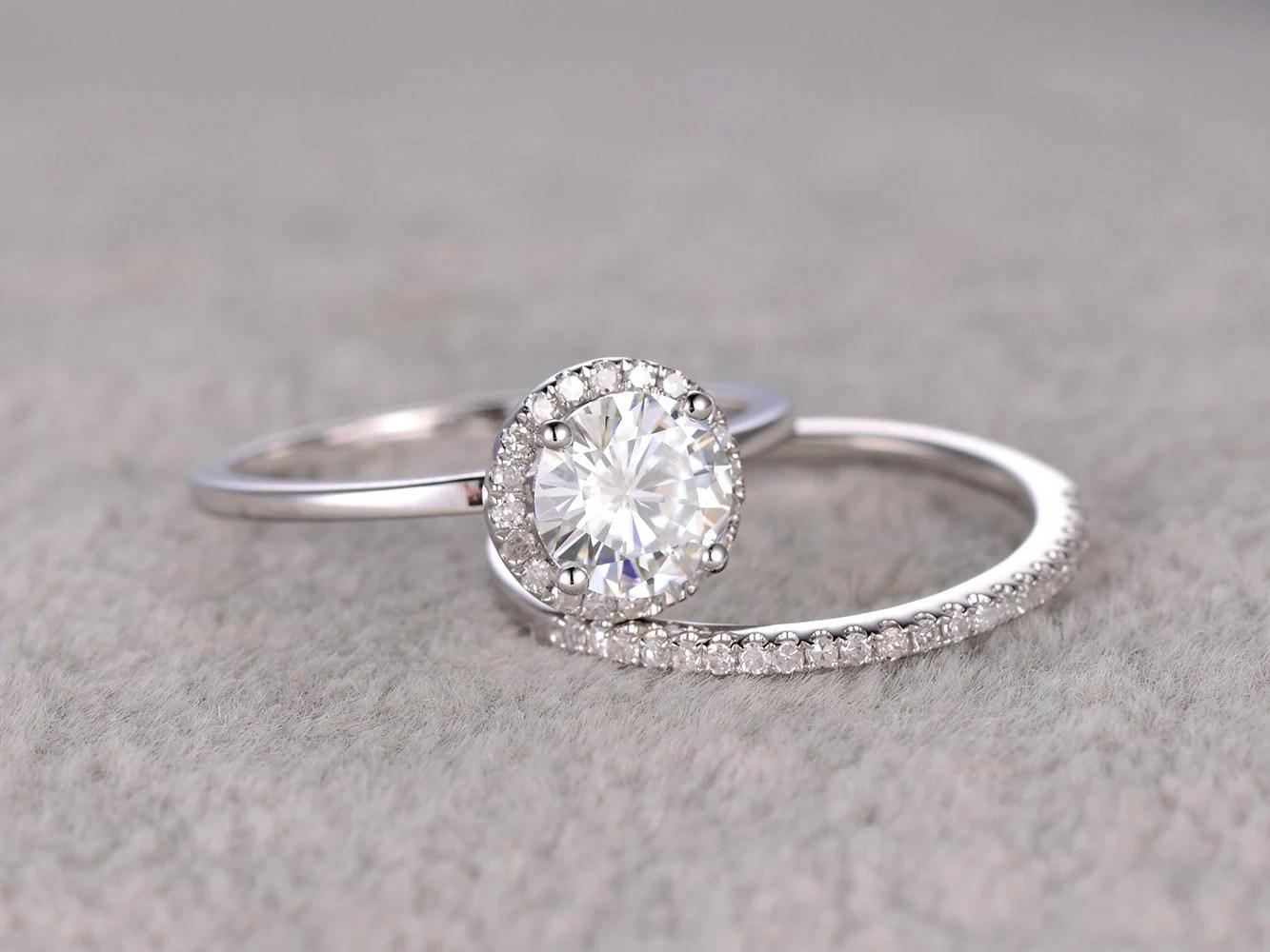 thin white gold ring wedding ring spacer 2pcs 1ct Moissanite Bridal Ring Set Engagement ring White Plain gold Ultra Thin Diamond wedding band 6 5mm Round stone Promise Ring Stacking