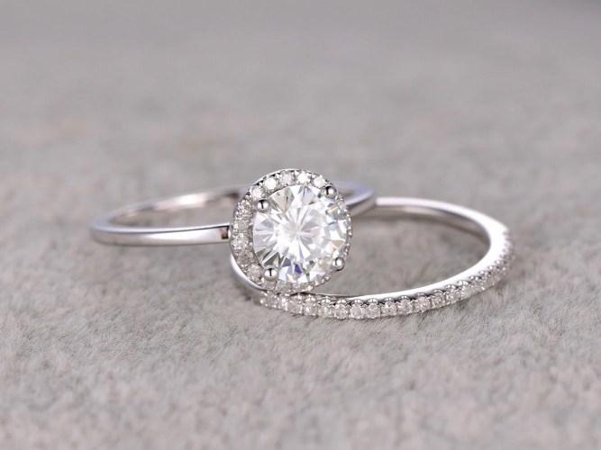 thin diamond band wedding ring with band 2pcs 1ct Moissanite Bridal Ring Set Engagement ring White Plain gold Ultra Thin Diamond wedding band 6 5mm Round stone Promise Ring Stacking
