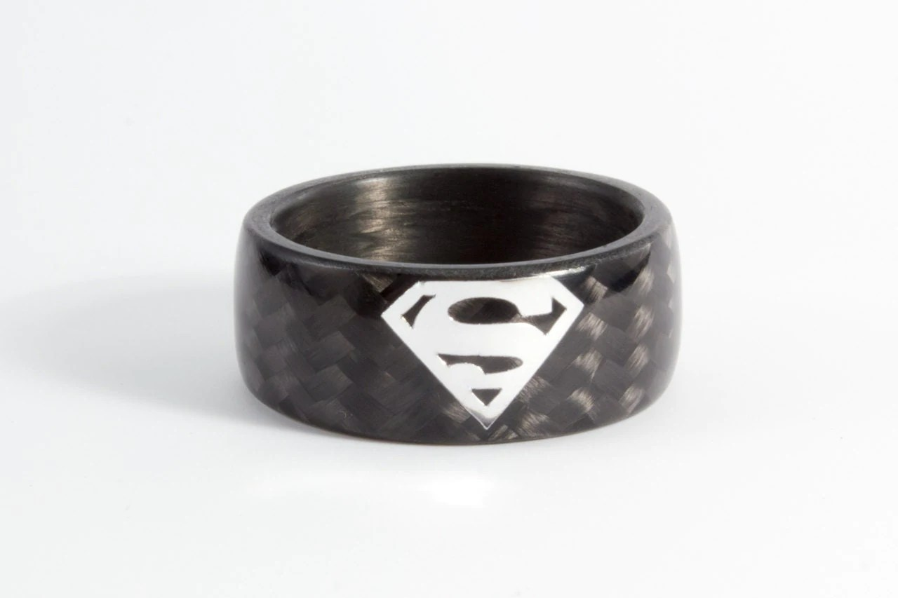 superman ring mens batman wedding bands Men s carbon fiber Superman ring Black and glossy wedding band Water resistant very durable and hypoallergenic 8N
