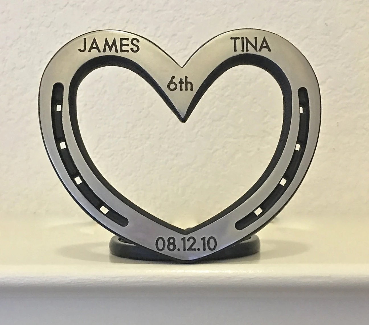 6th anniversary gift 6th wedding anniversary gift Standing heart personalized horseshoe steel or iron 6th wedding anniversary sixth anniversary Equestrian wife gift