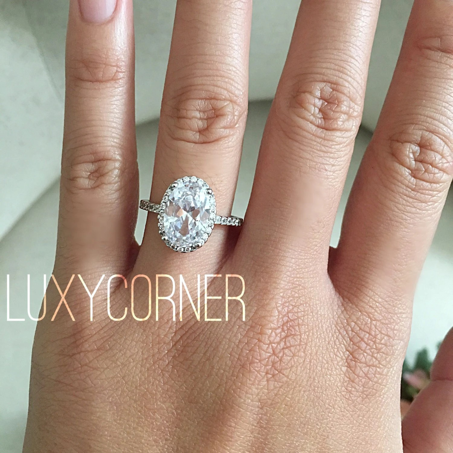 oval halo engagement ring oval halo wedding ring zoom