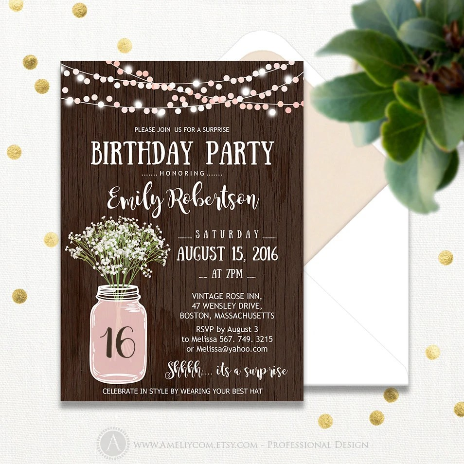 mason jar invitation mason jar wedding invitations Surprise Birthday Party Invitations Printable Sweet 16 Girl Pink Adult Birthday Invite Rustic Mason Jar INSTANT DOWNLOAD Editable Any Ages