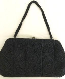 Vintage Clutch - Black Beaded Clutch - Clutch Purse - Vintage evening bag