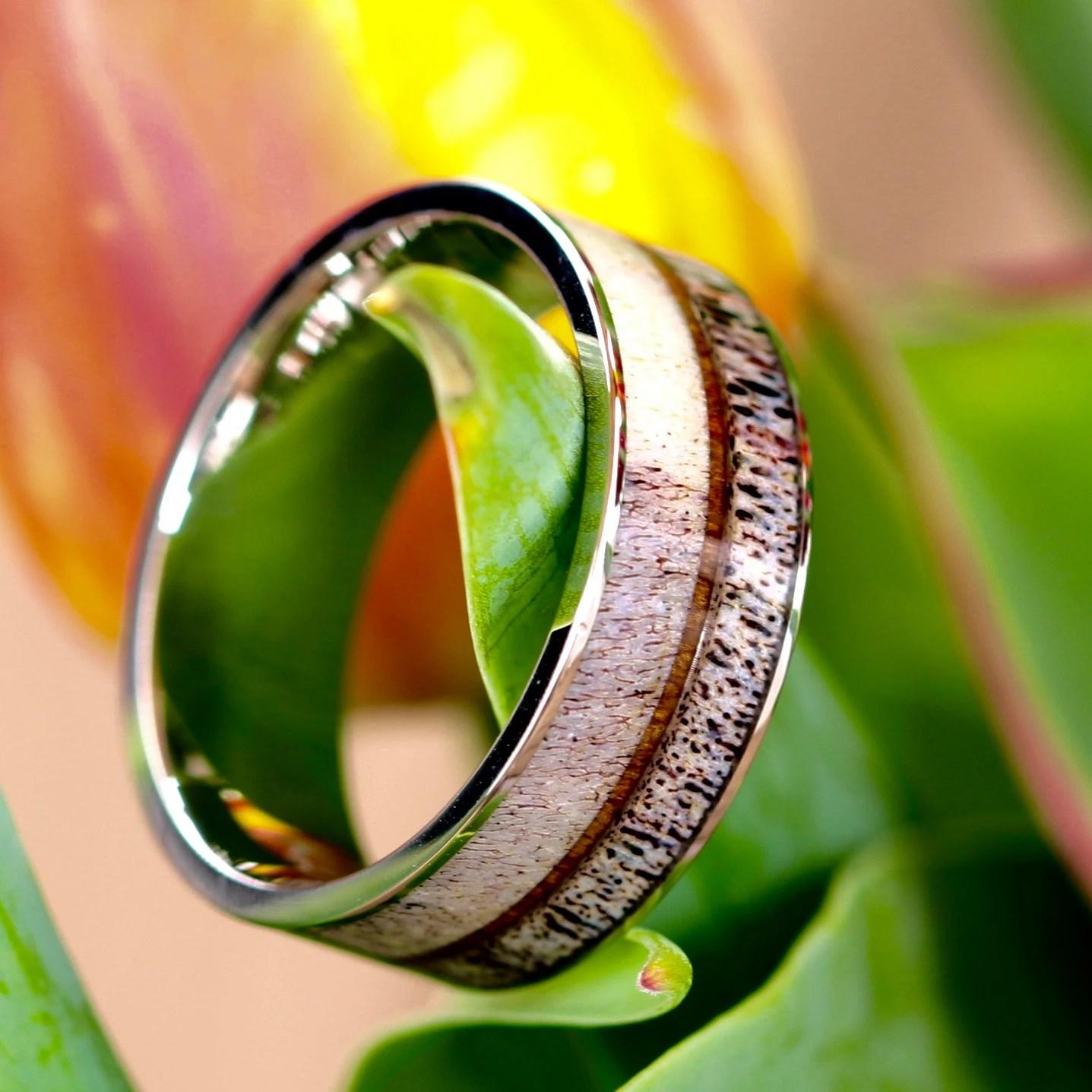 antler wedding ring deer wedding bands Natural Deer Antler Ring with Koa Wood Inlay Unisex Mens Ring Womens Ring Stainless Steel Hunter Wedding Ring Band