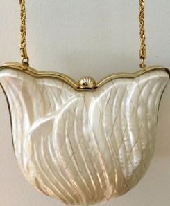 Pearlized Lucite Purse - Vintage Shell Purse - Vintage Clutch Bag