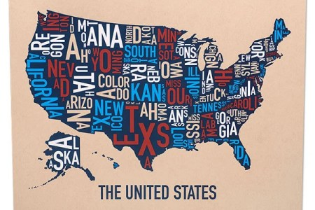 united states of america typography state map poster or print