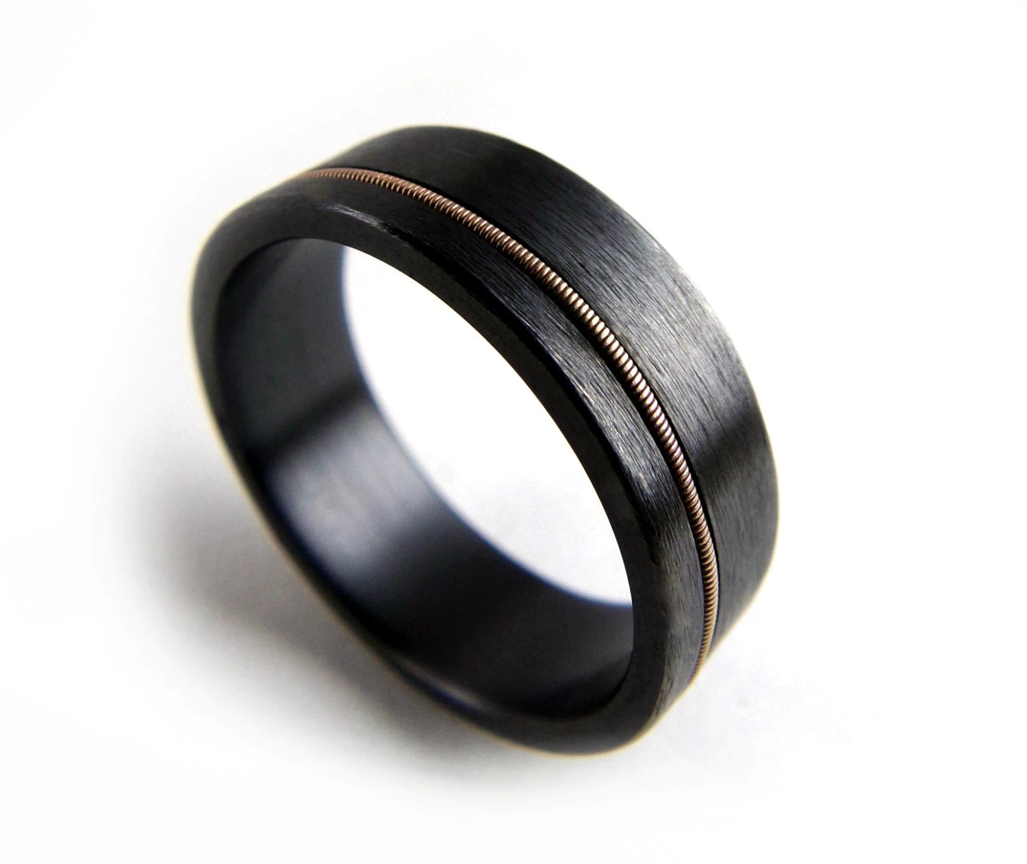 black wedding band flexible wedding ring Black Zirconium Ring Guitar String Ring Black Metal Ring Guitar String Jewelry Black Ring Men Black Ring Women Wedding Ring Black Band
