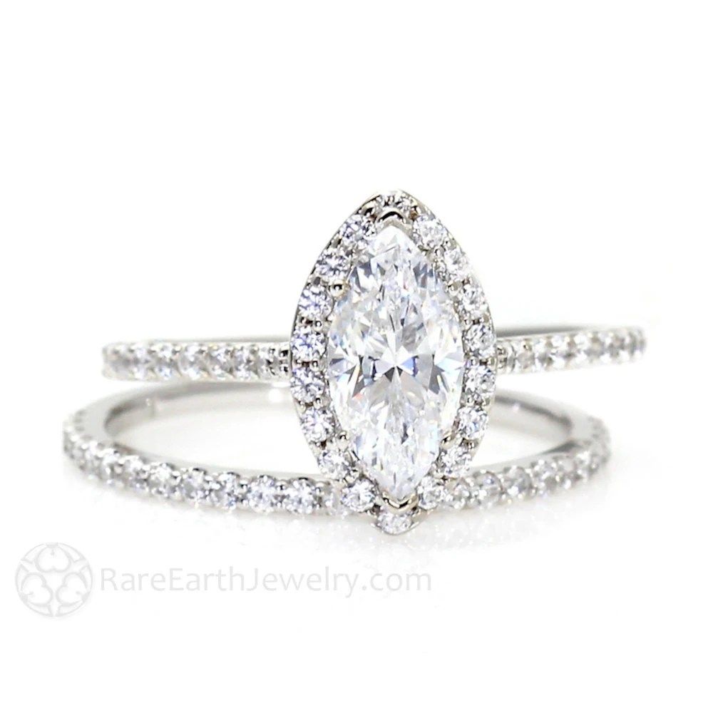 marquise diamond marquee wedding ring Marquise Moissanite Wedding Set Engagement Ring Diamond Halo Moissanite Ring Conflict Free 14K or 18K Gold
