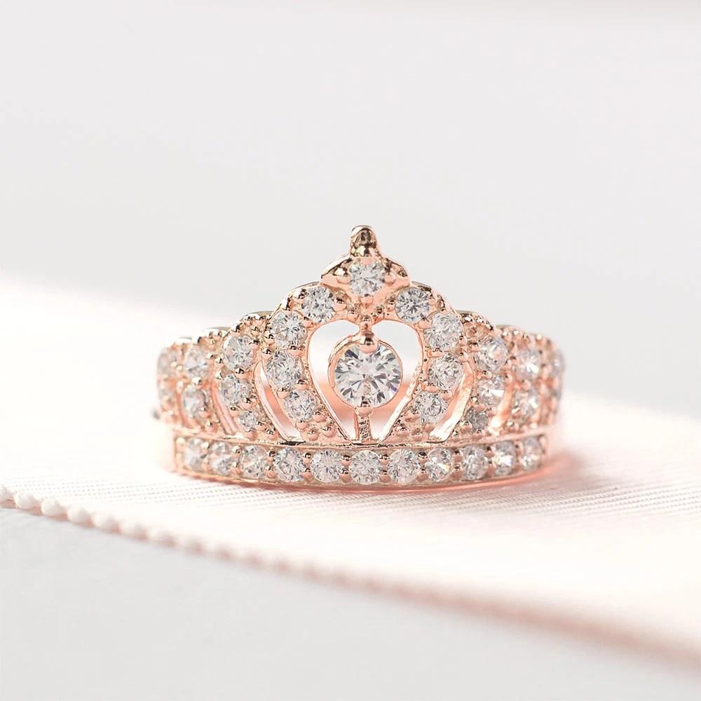 rose gold crown ring princess crown ring crown wedding rings Ring Crown Engagement zoom