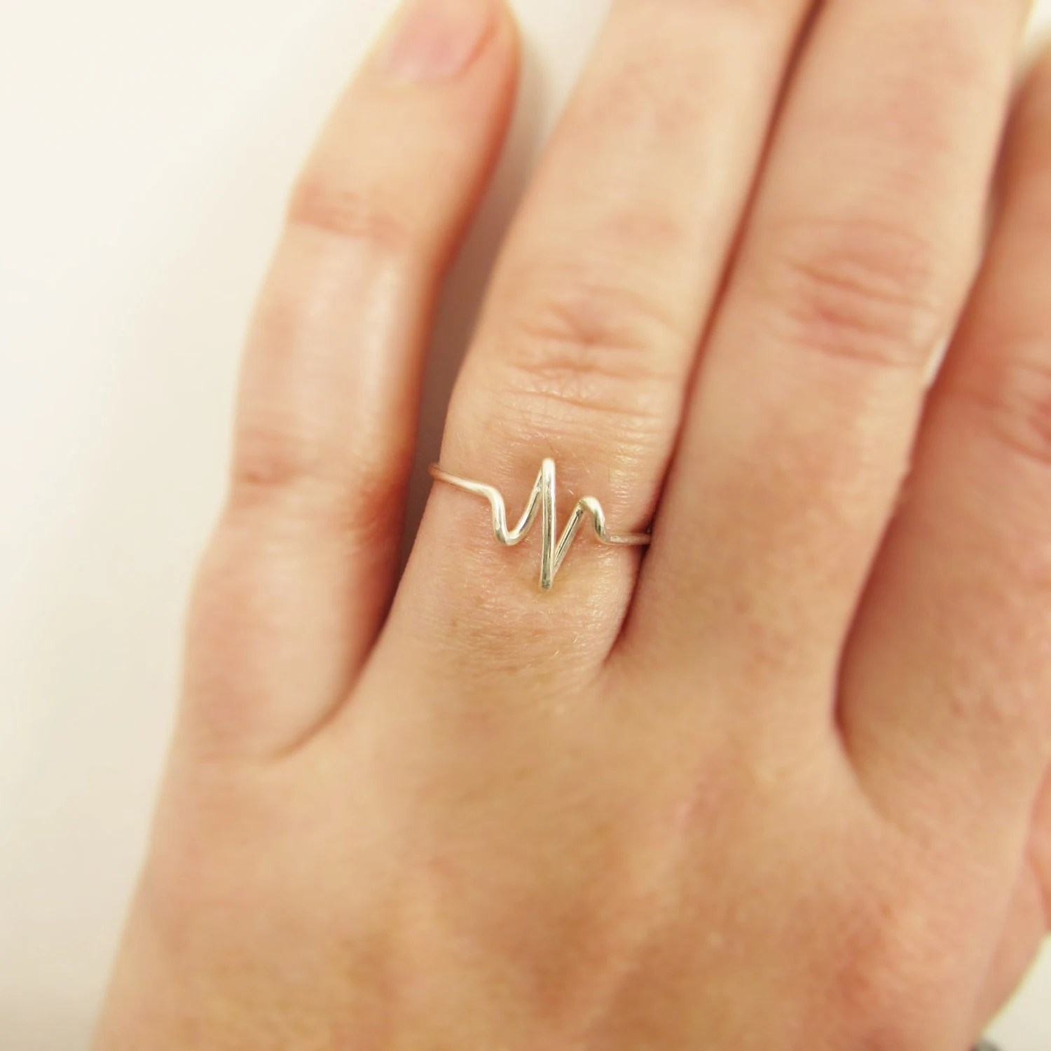 nurse jewelry wedding bands for nurses Heartbeat Ring Sterling Silver or Gold Wire Wrap Ring EKG Pulse Nurse Gift Doctor Gift Bride Girlfriend Gifts Jewelry Gifts Under 10