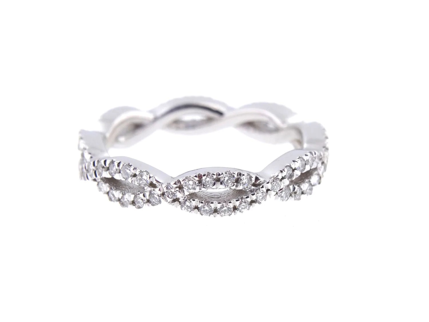 14k white gold diamond infinity eternity infinity diamond wedding band 14K White Gold Diamond Infinity Eternity Band Criss Cross Band Stackable Band Anniversary Band Wedding Band Engagement Yellow Gold Rose Gold