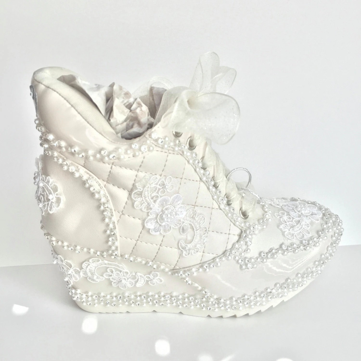weddingshoeheaven wedding wedge shoes Ivory Wedding Shoes Sneakers Wedge Heeled Bridal Tennis Shoes in Ivory Champagne