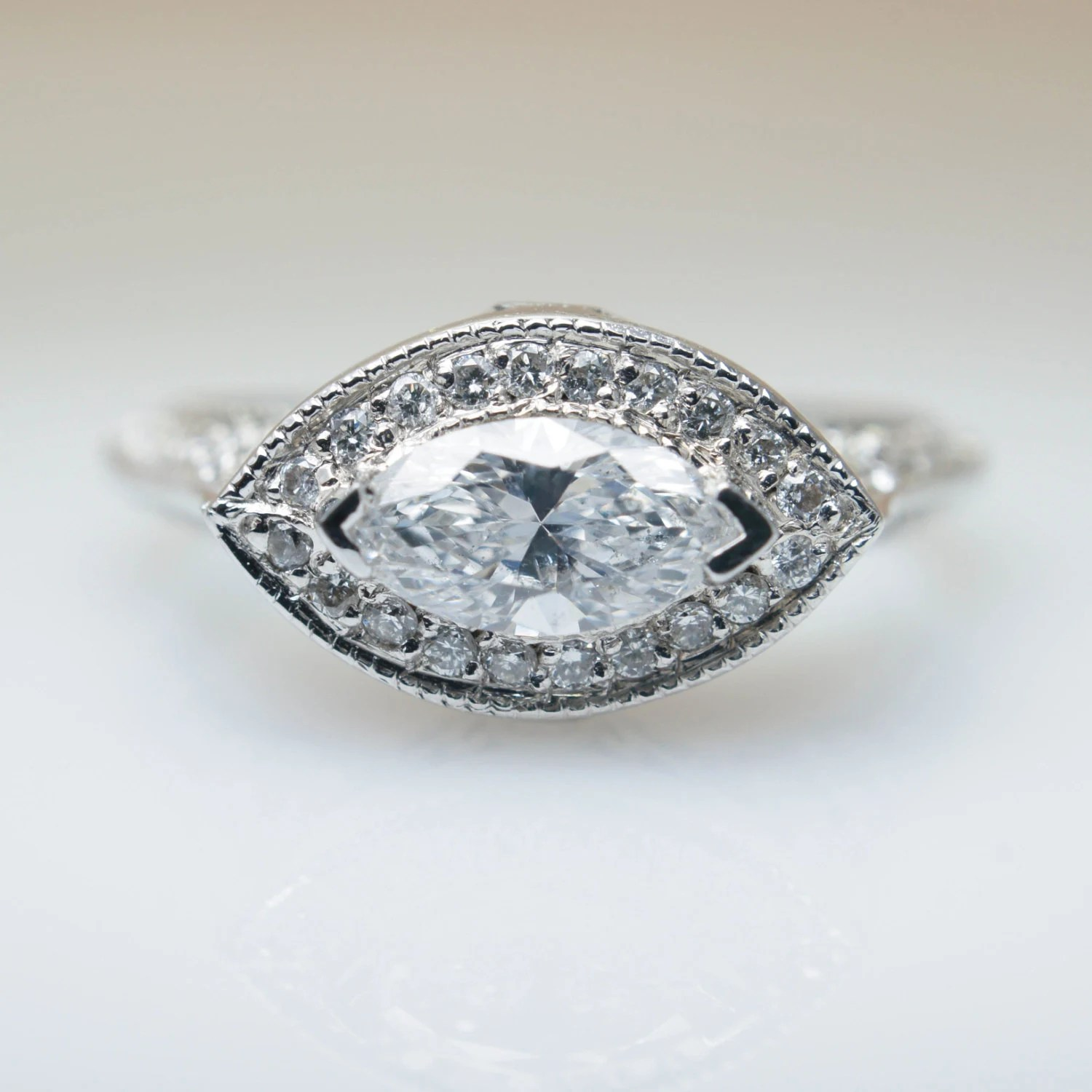 marquise diamond marquee wedding ring 1 09ctw East West Marquise Diamond Engagement Ring in 18k White Gold East West Engagement Ring Side Diamond Jewelry