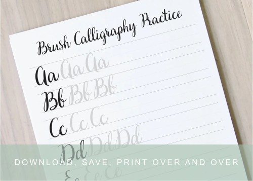 Medium Of Modern Calligraphy Practice Sheets