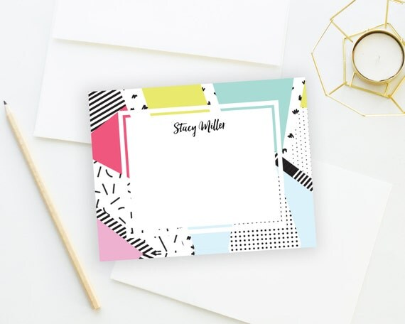 Personalized Stationery. Personalized Notecard Set. Personalized Stationary. Note Cards. Personalized. Stationery. Memphis. 80s Style.