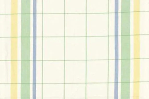 "16"" Toweling - White with Green, Yellow & Blue Plaid"