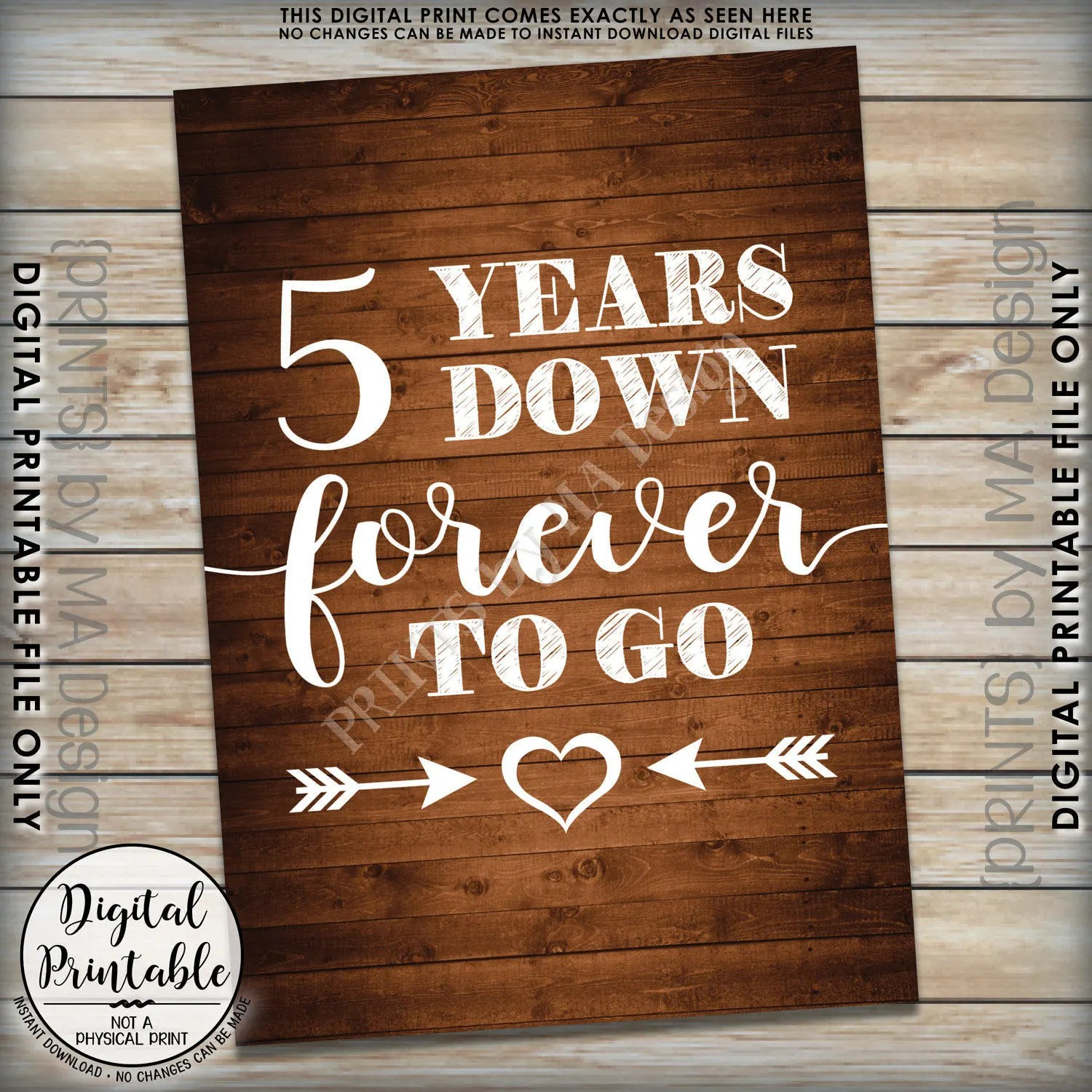 5 years down forever to go 5th wedding 5th wedding anniversary 5 Years Down Forever to Go 5th wedding anniversary gift Wedding gift Anniversary gift Instant Download Rustic Wood Style Printable