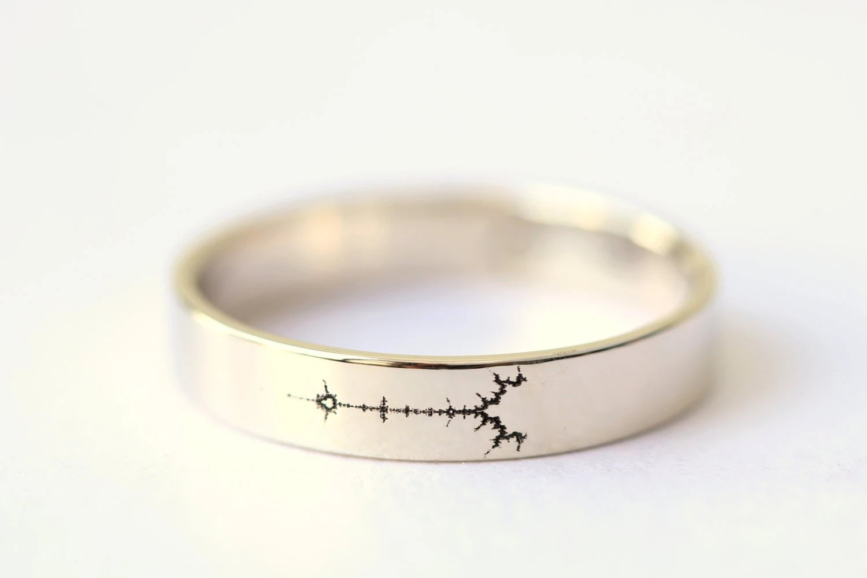 geek wedding ring police wedding rings White Gold Fractal Wedding Band Science Jewelry Mathematics Jewelry Mandelbrot Set Geek Wedding Ring Math Wedding Ring Fractal Art Ring