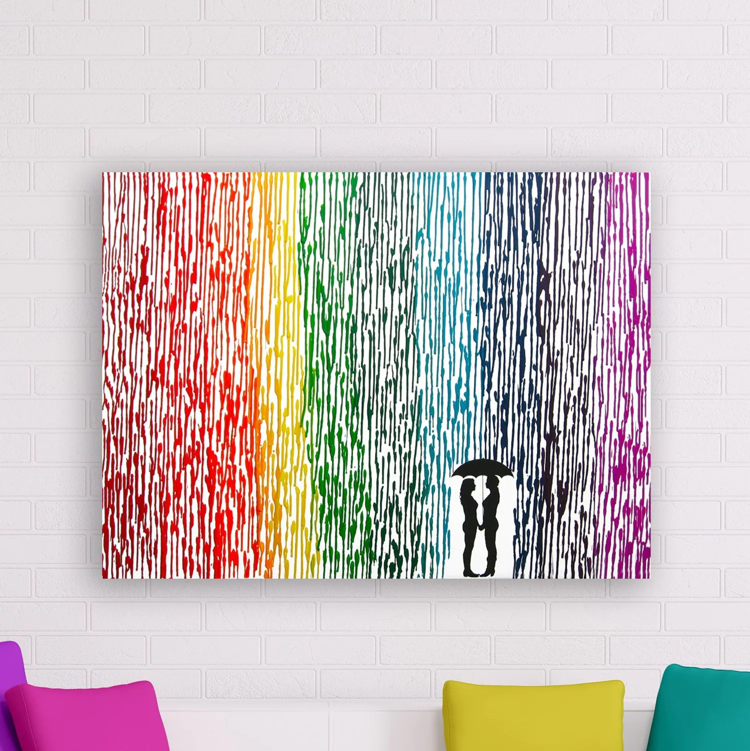lesbian wedding lesbian wedding ideas Lesbian Wedding Gift Melted Crayon Art Rainbow Painting Lesbian Pride Umbrella Painting Rainbow Decor Couple Silhouette Lesbians