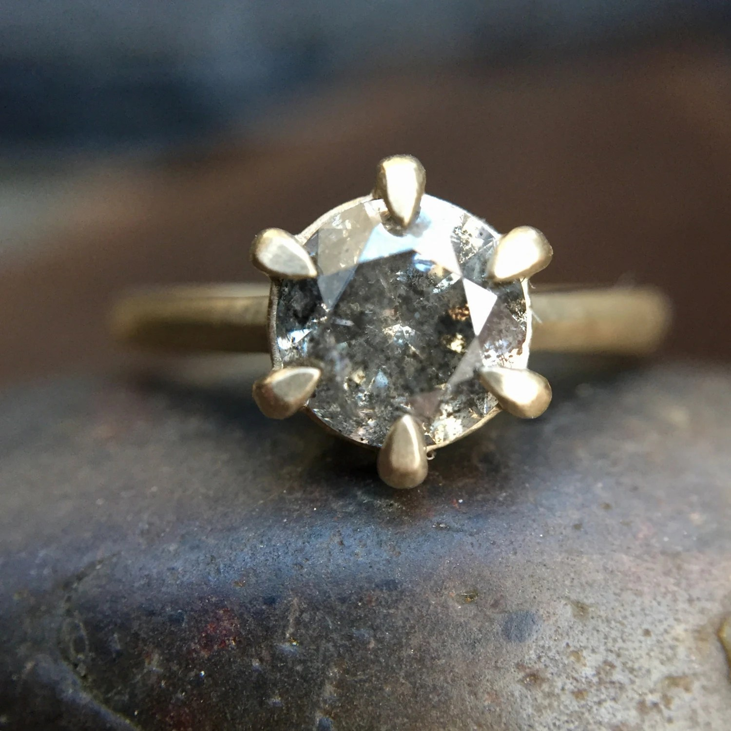 boho engagement ring bohemian wedding rings Pikes Solitaire Salt Pepper Diamond Cathedral Solitaire Six Prong 14K Ring Grey Diamond Ring Boho Diamond Ring Boho Engagement Ring