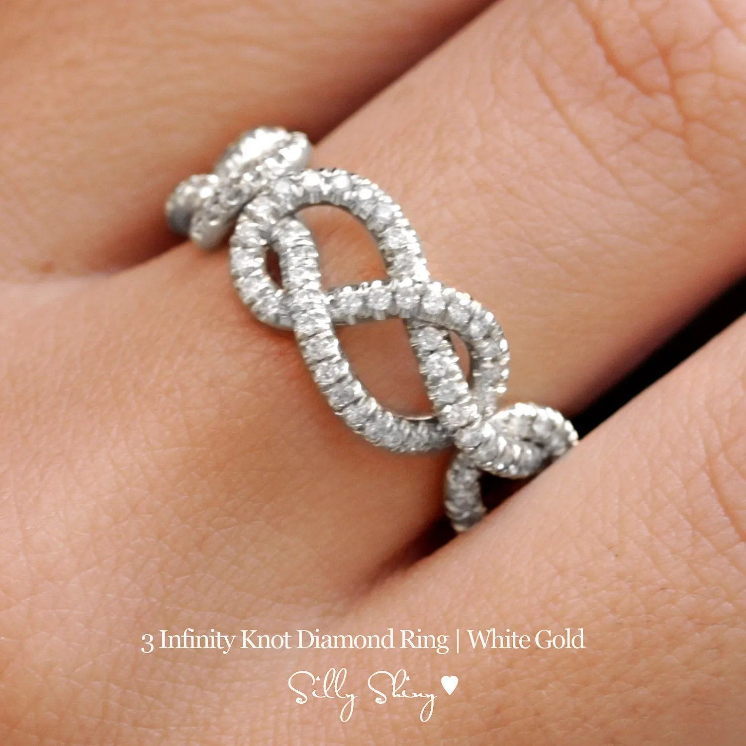 gold wedding band double infinity knot infinity diamond wedding band Triple Infinity Knot Ring 0 75 CT Diamond Wedding Band 14K Gold Wedding Ring Cluster Ring Art Deco Ring Infinity Ring
