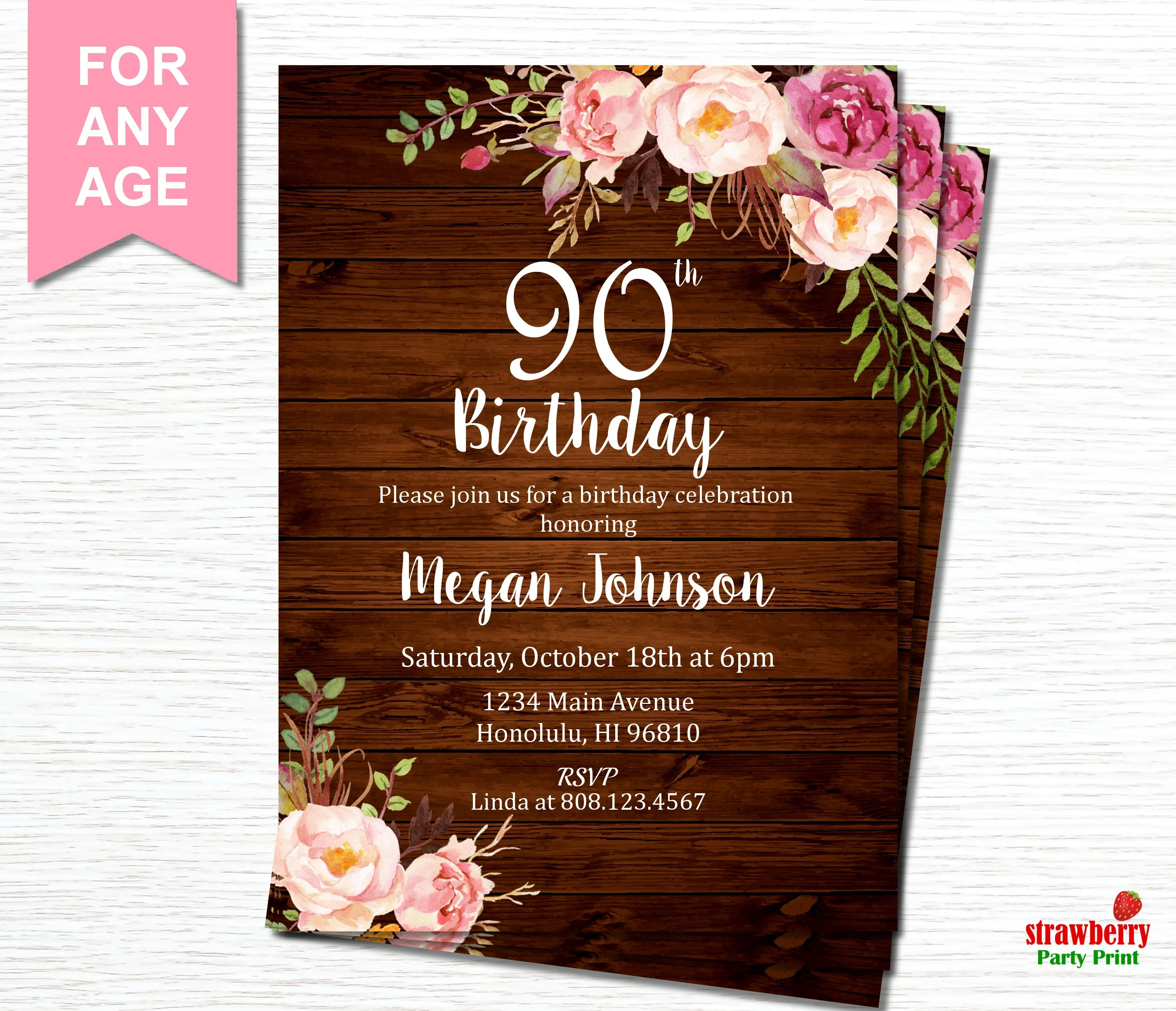 Fullsize Of 90th Birthday Invitations