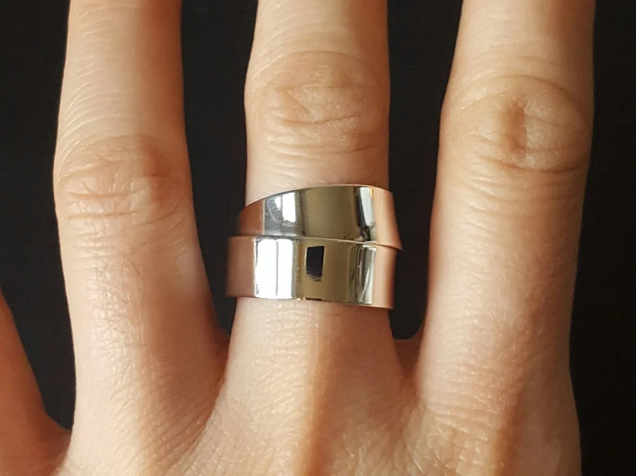 sterling silver wrap ring 7mm ring wedding wrap ring Sold by kyooziAccessories