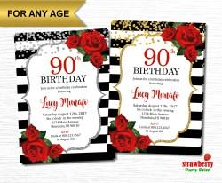 Exciting Floral 90th Birthday Invitations Templates 90th Birthday Invitations Free Download Floral Red Roses Black Birthday Birthday Invitations Birthday Birthday Invitations