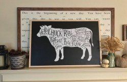 Sightly Cow Butcher Cut Wood Sign Kitchen Rustic Farmhouse Decor Country Framedlarge Wall Painted Chalkboard Style Cow Butcher Cut Wood Sign Kitchen Rustic Farmhouse Decor Country