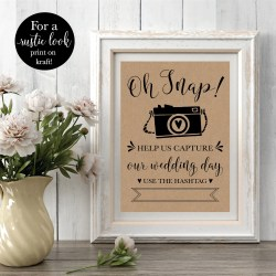 Smothery Oh Snap Printable Wedding Hashtag Party Rustic Social Mediareception Decor Oh Snap Printable Wedding Hashtag Party Rustic Social Diy Wedding Hashtag Sign Wedding Hashtag Sign Maker