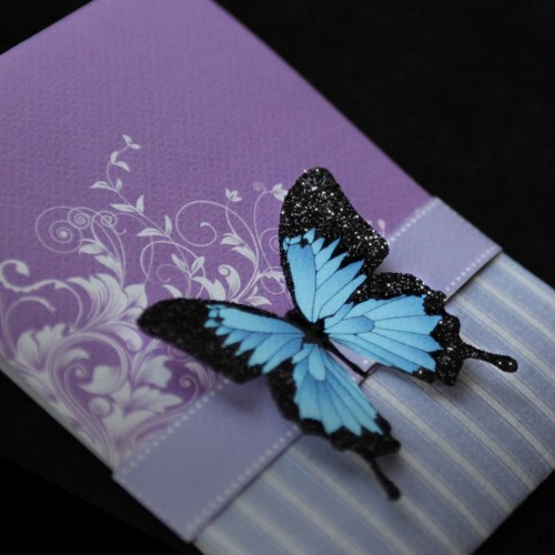 Blue Mountain Butterfly Wedding Invitation Suite