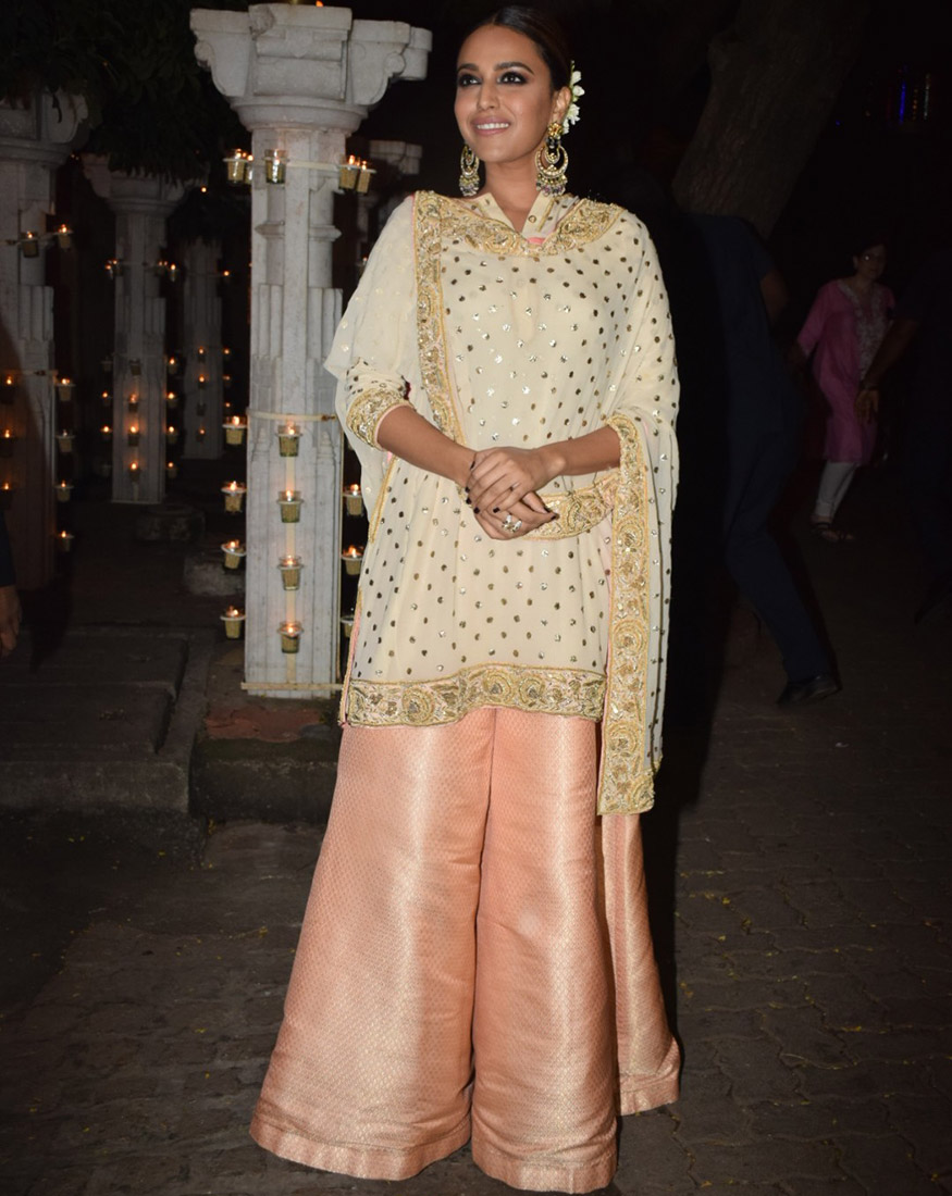 Swara Bhaskar at Anil Kapoor's Diwali party hosted at his residence in Mumbai on October 19, 2017. (Image: Yogen Shah)