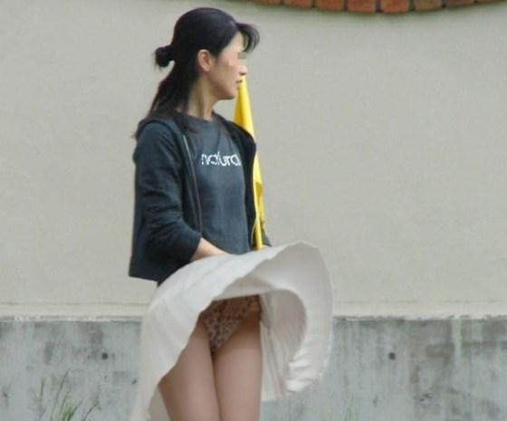 【ハプニング画像】風で煽られたスカート、前抑えてもお尻丸見えだよww 10
