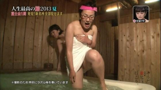 【温泉キャプ画像】バスタオル一枚でテレビに出るタレント達の体がエロすぎやしませんか??ww 18