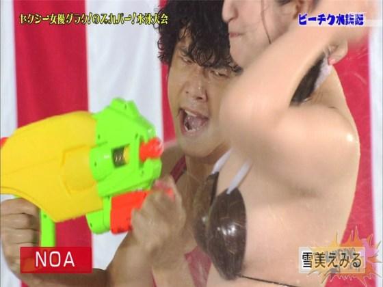 【お宝エロ画像】女優だらけのスカパー水泳大会で美女達が乳首刺激されて感じまくるww(ビーチク水鉄砲編) 30