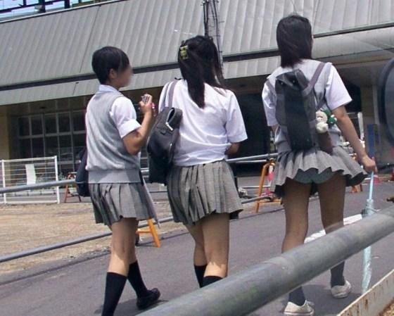 【パンチラハプニング画像】JKのスカートが風でめくれあがって大変な事になってるぞww 17