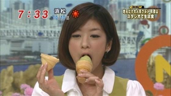 【疑似フェラ画像】食べ方で分かる!フェラが好きそうな女達のTVキャプ画像ww 12