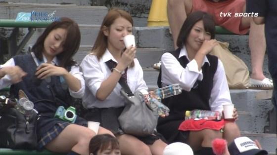 【放送事故画像】甲子園中継でパンチラまで映されてるとは知らず笑顔なJK達ww 21
