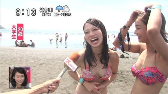 【水着キャプ画像】素人に水着インタビューと称してオッパイ映しまくりのエロインタビューww 02