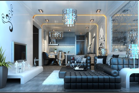 modern living room fully furnished and decorated in dark colors 3d model max