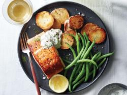 Assorted Salmon Pink What Goes Good Salmon Salmon Fillets Horseradish Sauce Recipe Cooking Light What Goes Good Potatoes