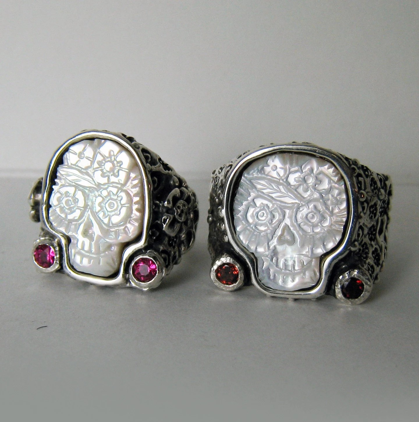 two wedding rings day of the dead sugar mens skull wedding rings zoom