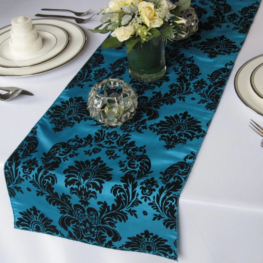 victorian peacock and black flocked wedding table runners zoom