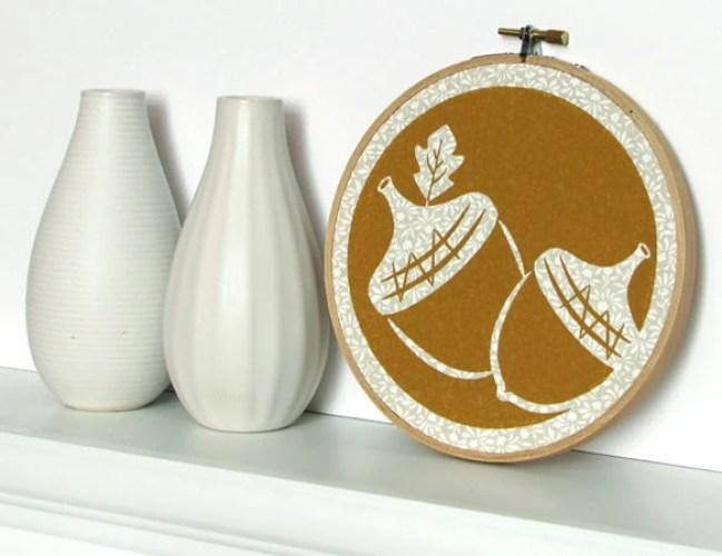 Acorn Embroidery Hoop Art - Acorn Screenprinted Wall Hanging - Nut, Oak Leaf, Autumn, Mustard Yellow, White, Cream, Ivory (HNT1)
